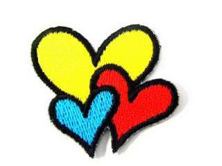 COLORFUL HEART LOVE IRON ON PATCH EMBROIDERED I359