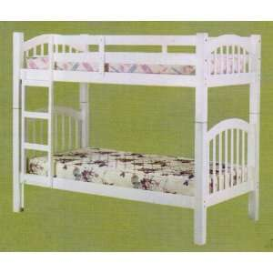 Twin Size Wood Bunk Bed White Finish Home & Kitchen