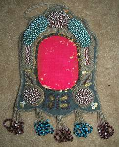 1913 NATIVE AMERICAN BEADED PICTURE FRAME NICE COND.