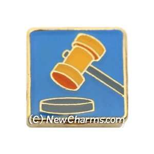 Courtroom Judge Gavel Floating Locket Charm Jewelry