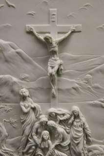 Crucifixion Scene Jesus on the Cross Statue Wall Plate Plaque Vittoria