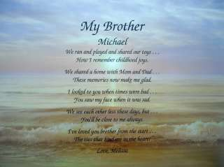 MY BROTHER PERSONALIZED POEM GIFT OCEAN SEA BACKGROUND