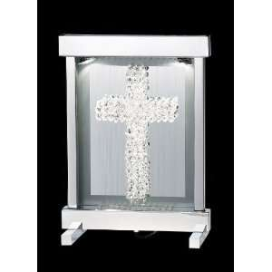 Percent Lead Crystal Sonata Crystal Two Light Framed Cross Lamp from