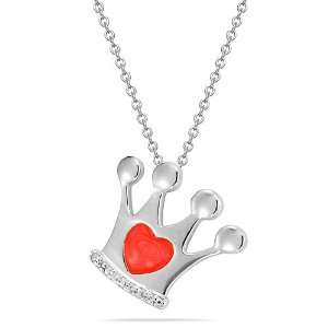10k White Gold Red Enamel and Diamond Accent Crown Pendant