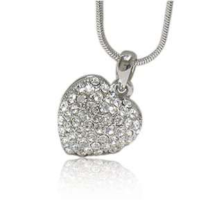 Crystal Puff Heart Pendant Necklace Fashion Jewelry Jewelry