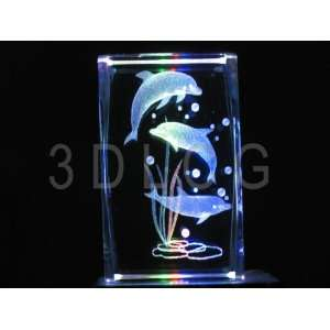 Dolphin Family 3D Laser Etched Crystal S2 Everything Else