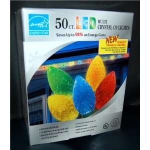 50 Count Christmas LED Multi Color Crystal C9 Holiday String Lights