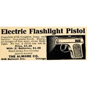 1915 Ad Almore Electric Flashlight Pistol Light Gun   Original Print