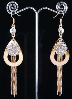 Credible Tibet Silver Swarovski clear Crystal Dangle Earring size 85mm