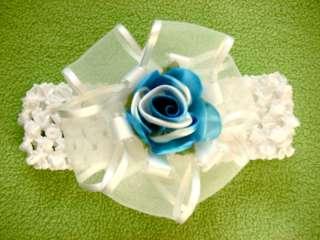Crochet headband 4 ribbon bow newborn baby  young girl