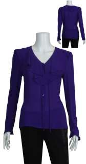 ESCADA Romantic Ruffle Silk Blouse Top Shirt 36 6 NEW