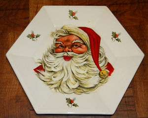 Vintage Ceramic SANTA CLAUS Christmas Hexagon Plate