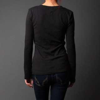 Crew Round Neck Cotton Long Sleeve T Shirt Womens Juniors Shirt Top sz