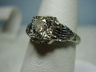 Estate 3/4 CWT 18K White Gold Solitaire Diamond Ring