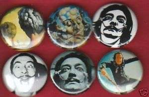 Salvador Dali Set of 6 Buttons Pins Badges Sureal Art