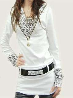 Chic Sexy Leopard Belt New Women Shirt Top