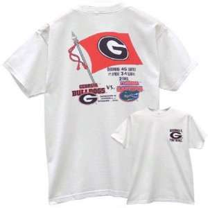 Georgia Bulldogs White 03 History Flag T shirt Sports