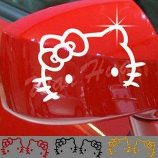 2PCS×Lovely HELLO KITTY CAR REAR VIEW MIRROR STICKERS