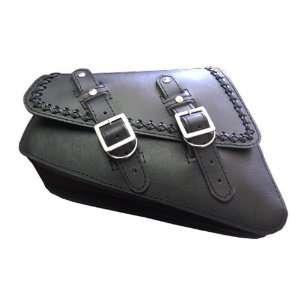 Harley Sportster Black Leather Cross Lace Saddle Bag