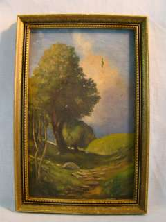Antique COUNTRY HILLS Folk Art OLD Rural FAIRY TALE LandScape PAINTING