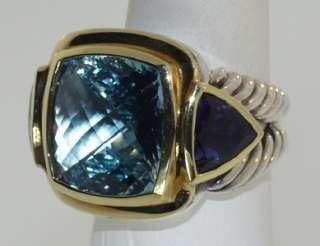 DAVID YURMAN STERLING SILVER & 18 KT. GOLD IOLITE & BLUE TOPAZ RING