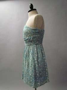 BLUE SWEETHEART Stitch Print Ruche Retro Mod Party Day Dress S
