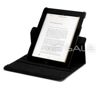 BLACK LEATHER CASE WITH 360 ROTATING STAND + SCREEN PROTECTOR