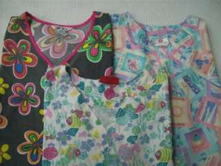 dental scrubs lot of 9 solid printed shirts tops 3xl los angeles rose
