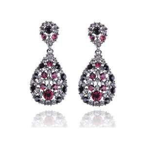 Crystal Rhinestone Jewel Encrusted Dangle Tear Drop Earrings Jewelry
