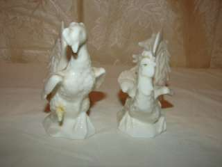 Vintage White Fighting Roosters Figurine Fine Quality Lenwile China