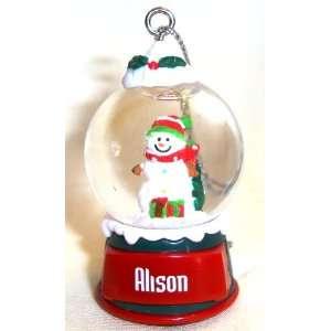 Alison Christmas Snowman Snow Globe Name Ornament