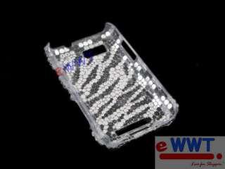 for Motorola MB525 Defy New Bling Rhinestone Back Cover Case Zebra