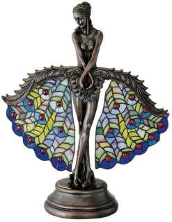 cut pieces of glass/Art Nouveau Peacock French Bronze Dancer