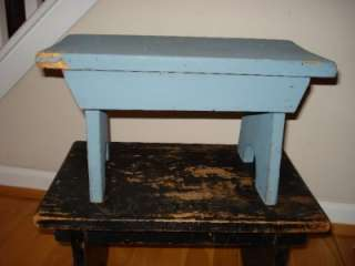 Up for sale is a robins egg blue distressed wooden step stool or bench