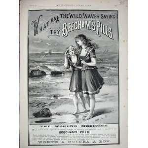 1887 Advertisment Beechams Pills Beach Ships Medicine