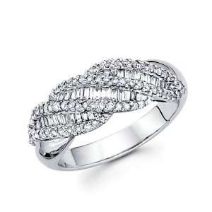 Size  6   14k White Gold Diamond Channel Set Dome Baguette Ring Band