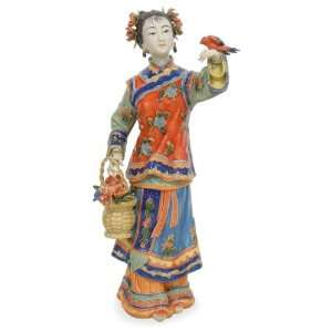 Chinese Porcelain Doll   Walking with Spring Bird