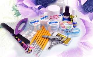Full Set UV Gel Nail Art Acrylic Powder Liquid Tips Kit