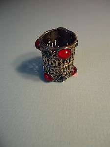 Vintage Silver Tone Red Glass & Blue Rhinestone Scarf Ring