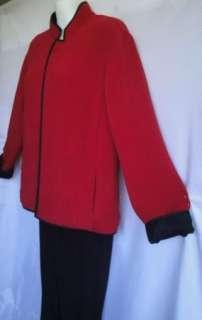 CHICOS Valentine crimson red black RAYON SILK Textured JACKET