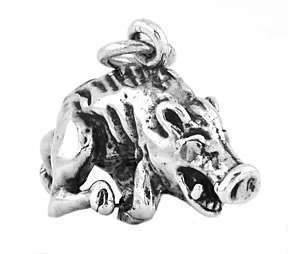 NEW STERLING SILVER 925 RAZORBACK HOG 3D CHARM/PENDANT