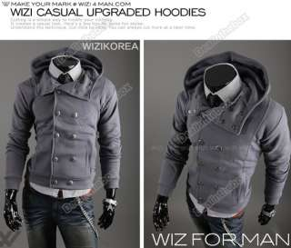 Winter Stylish Mens Slim double breasted Hoodies Coat Jacket