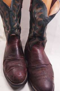 Double H HH Brown Green Leather 9 EE Mens Western Boots