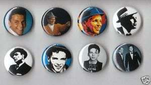 Frank Sinatra Set of 8 Buttons  Pins  Badges  Rat Pack