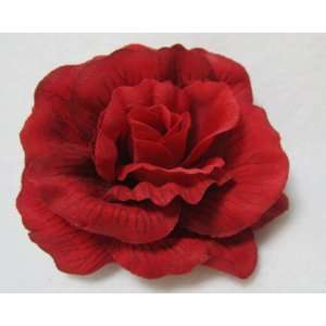 NEW Bright Red Rose Flower Hair Clip, Limited.: Beauty