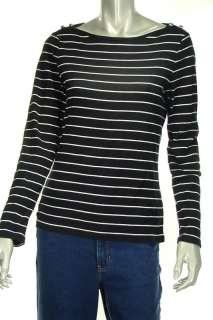 Lauren Ralph Top T Shirt Misses M Black White Stripe nw