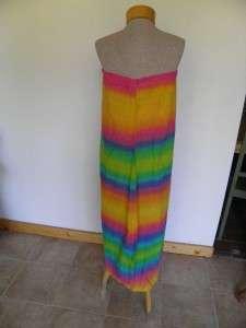 Vintage 70s RAINBOW STRIPE Hippie MAXI DRESS S/M