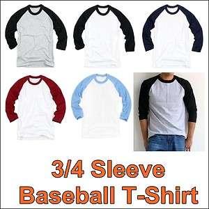 Raglan Sleeve Baseball T Shirt Round Tee Jersey XS XL Vintage