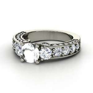 Rebecca Ring, Round Rock Crystal 14K White Gold Ring with Diamond