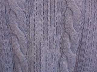 NWT PURE CASHMERE by RAFFI BLUE CABLE KNIT SWEATER sz 54 X LARGE XL